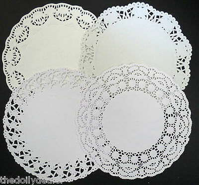 "ASSORTED 19CM OR 7.5""  EMBOSSED WHITE PAPER LACE DOILIES COLLECTION  X 24"
