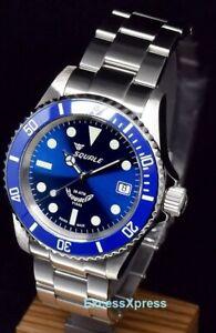 New Squale Y1545 20 Atmos Blueray Ceramic Blue Watch Warranty Swiss Made MK III