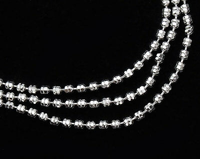 925 Sterling Silver Faceted Beaded Chain/ Necklace 1.3mm 16 inches