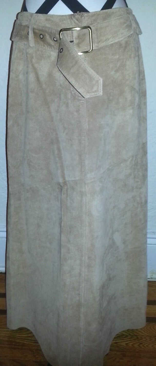 Newport News Tan Suede Belted Maxi Skirt Size 8