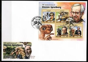 SIERRA LEONE 2016 70th BIRTH ANN OF STEVEN ET, INDIANA JONES JAWS SHEET FDC