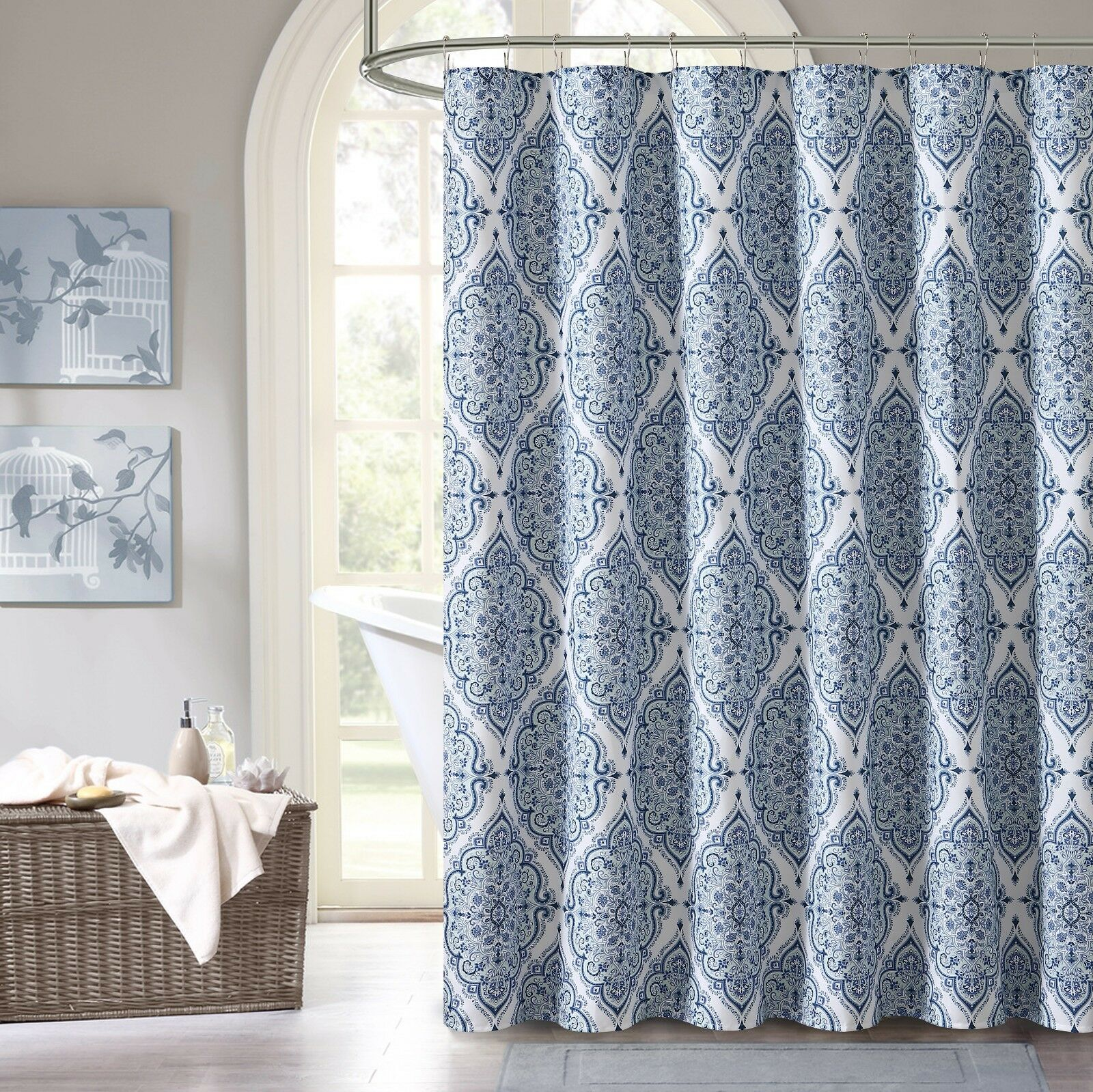 Blue Purple Gray Green Fabric Shower Curtain Floral Geometric Damask Design