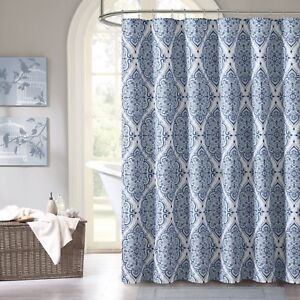 blue purple gray green fabric shower curtain floral geometric damask design ebay. Black Bedroom Furniture Sets. Home Design Ideas
