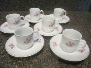 Demitasse-cups-amp-saucers-Pink-Flowers-amp-Gold-Trim-Set-of-6-Made-in-China