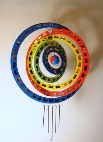 Mobile Windspiel  Regenbogenfarben Kreis Verdreht aus Holz Deko Harmonie NEU