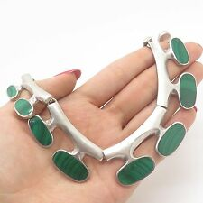 "Vtg Mexico Sterling Silver Real Malachite Gemstone Modern Handmade Necklace 16"""