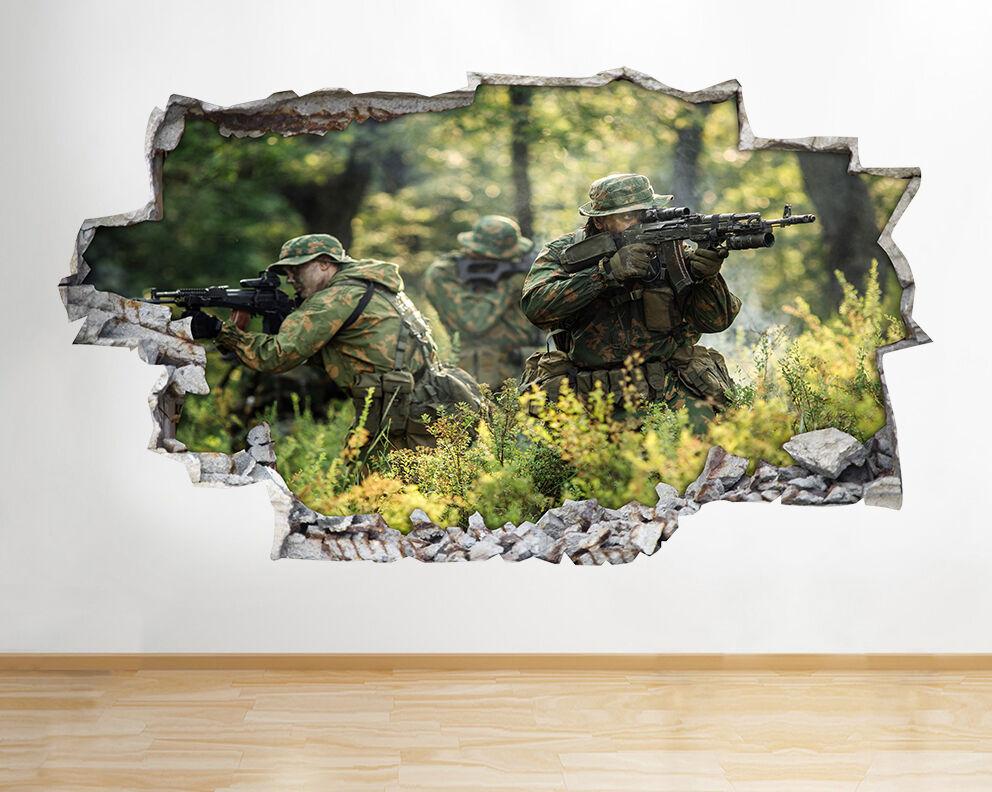 Z000 dell'esercito Scena Soldati ragazzi frougedi adesivo da parete camera bambini