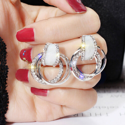 Women Crystal Statement Dangle Drop Hoop Earrings Ear Studs Wedding Jewelry FO