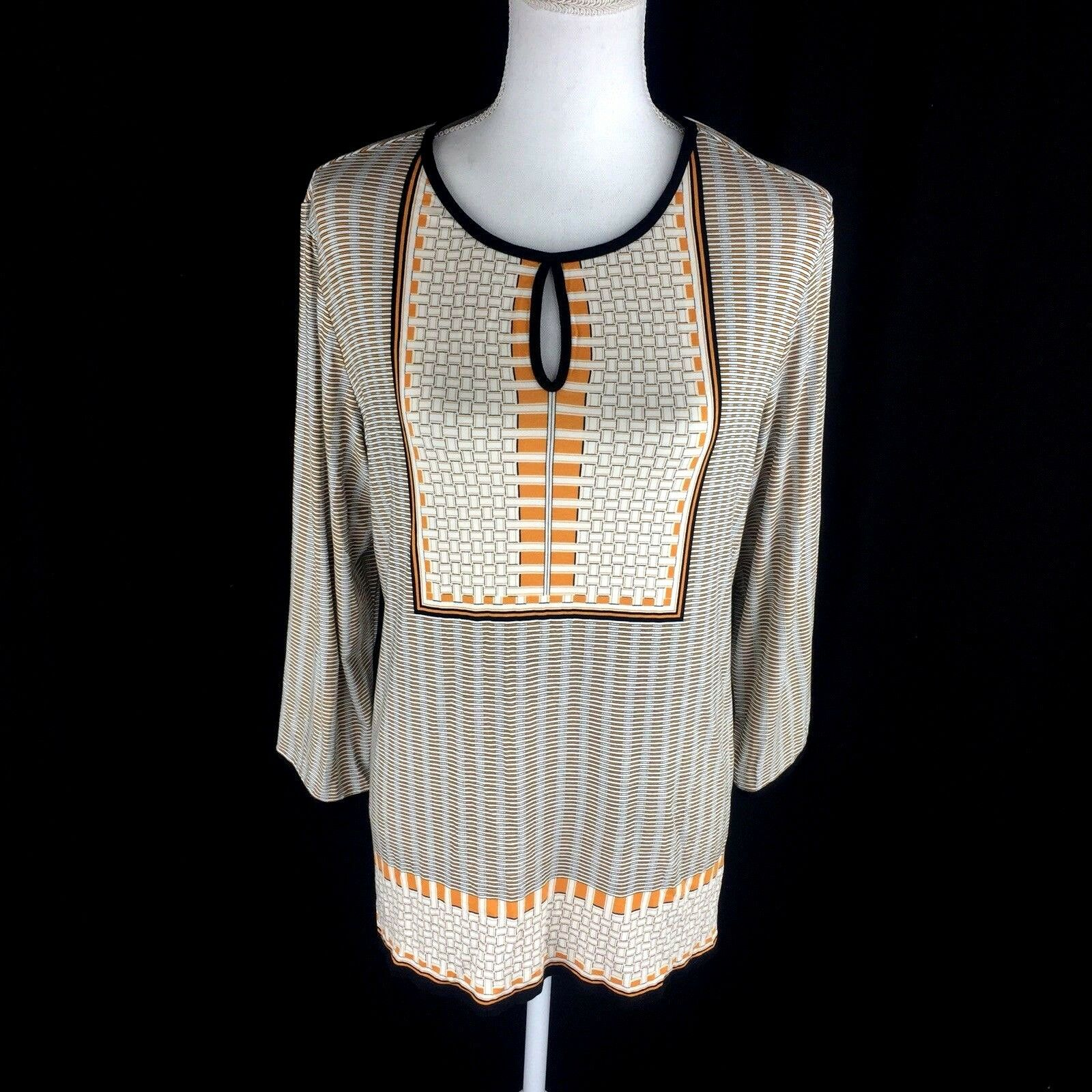Max Studio Womens XL Blouse Top Keyhole 3 4 Sleeve Bib Basketweave Beige orange