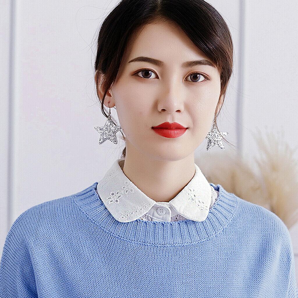 Lace Collar Fake Flowers Women Girl Detachable Removable Half Shirt