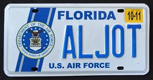 FLORIDA-034-U-S-AIR-FORCE-SEAL-EAGLE-034-FL-Miliary-Specialty-License-Plate