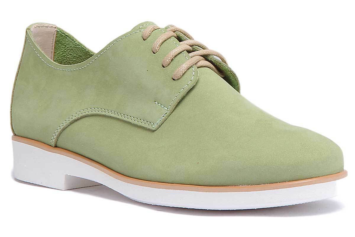 Justin Reece Women Soft Leather Green Leather Oxford shoes Size
