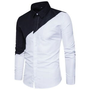 Fashion-Men-039-s-Button-Front-Shirts-Slim-Long-Sleeve-Dress-Shirts-Tops-Blouse
