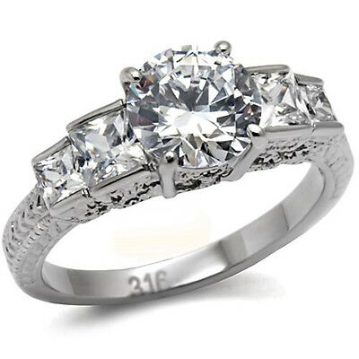 Stainless Steel Engagement Ring 5 Stone Anniversary 8mm Round Solitaire CZ