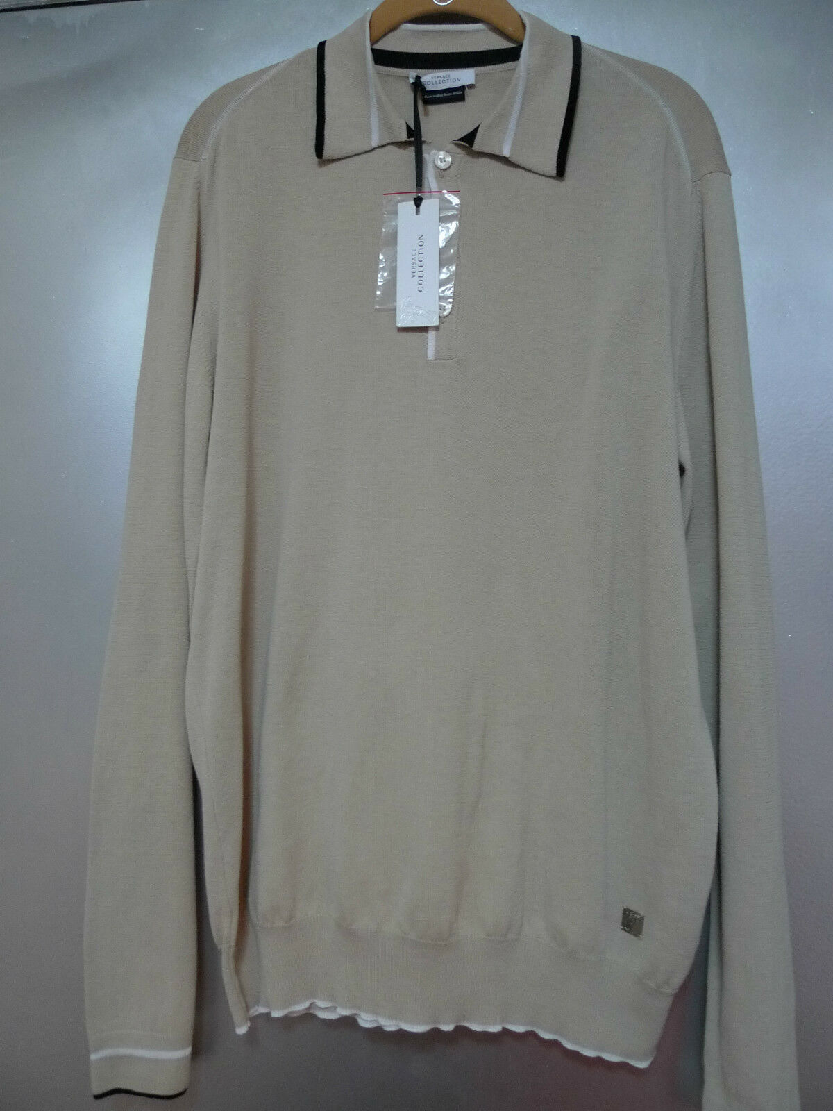 775. VERSACE COTTON BEIGE Herren POLO SWEATER ITALY SIZE XL