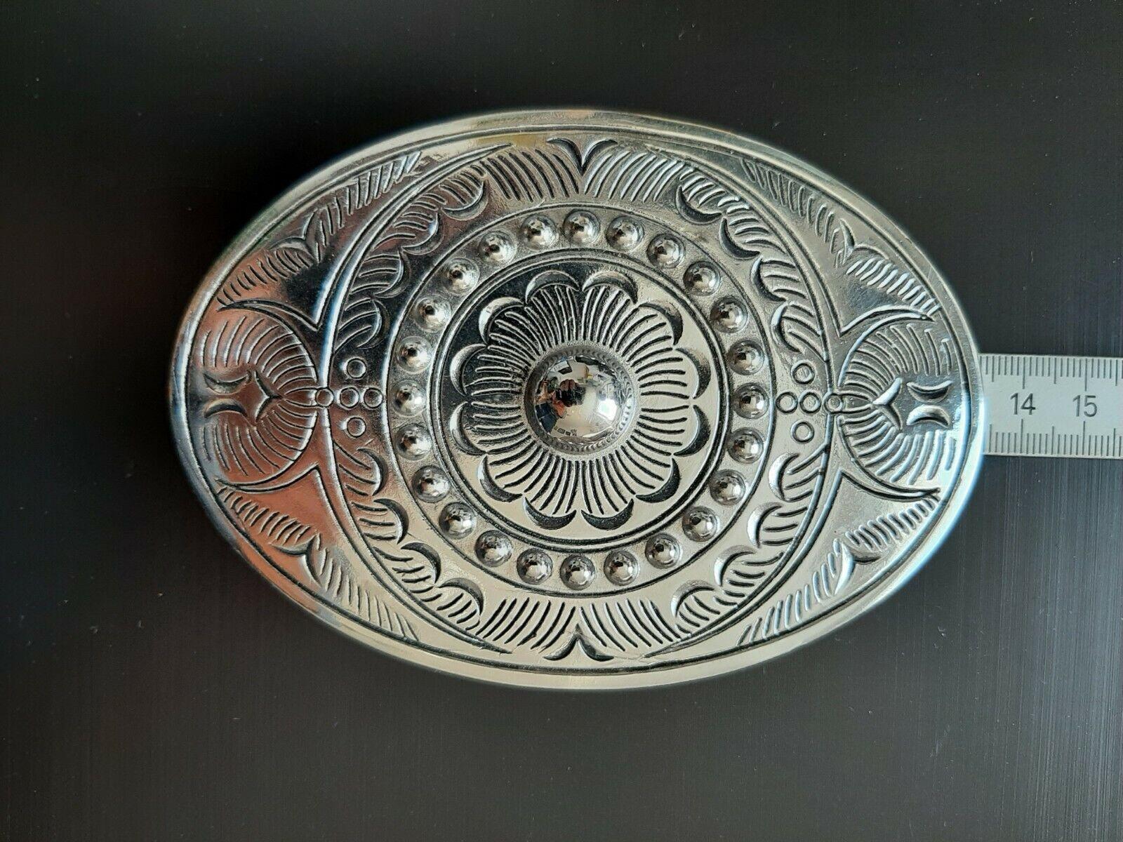 Buckle Gürtelschnalle silver oval groß