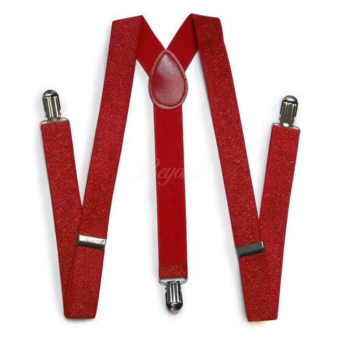 Rouge Hommes Femmes Clip-Sur porte-jarretelles Bow-tie tous Paillettes Sequin Combo réglable