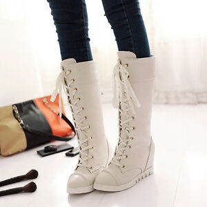 Winter-Women-039-s-Wedge-Heels-Lace-Up-Riding-Boots-PU-Leather-knee-High-Boots-US4-8