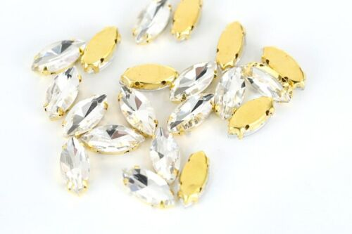 6 X 12MM 5PCS CRYSTAL NAVETTE STRASS GOLD PLATED SEW ON GEMS JEWELS