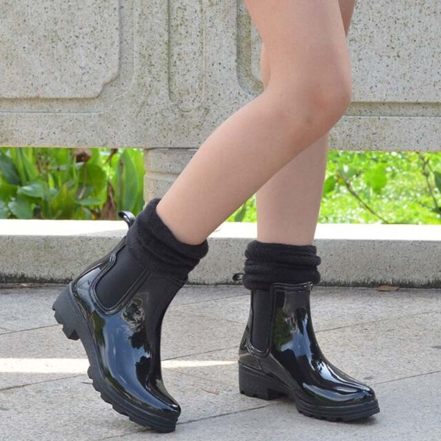 Women's Elastic Rain Boots Rubber Waterproof Short Garden Snow Ankle Boots