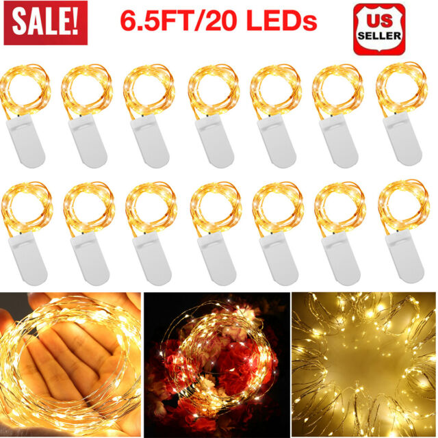 CYLAPEX 12 PCS Fairy Lights Cool White 3.3FT Silvery Copper Wire 20 LED String
