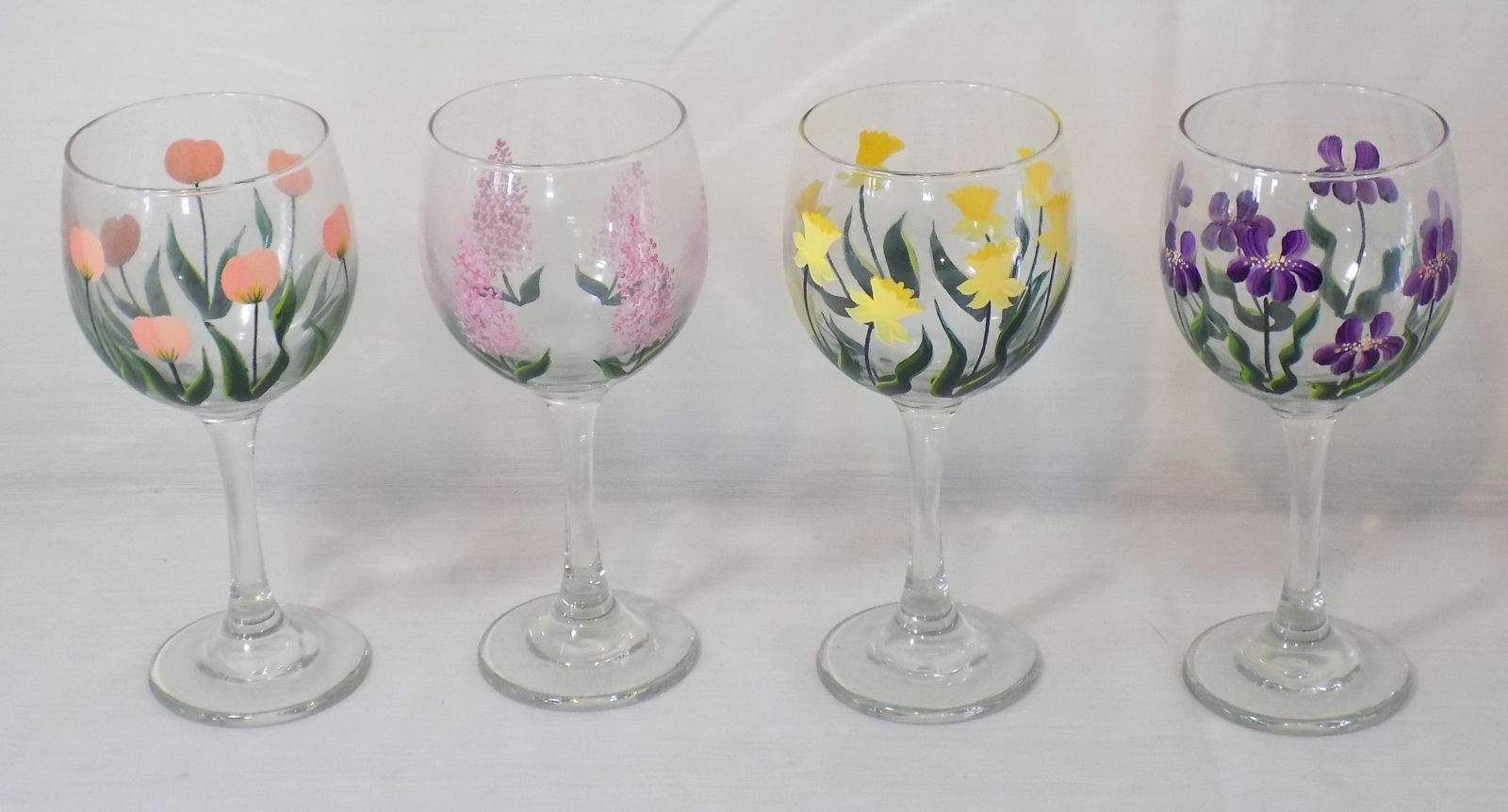 Set of 4 Hand Painted Wine Glasses  with Spring Flowers - Pretty