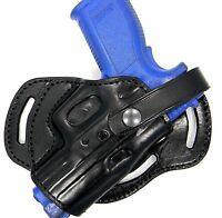 Premium Black Leather 3-slot Small Of Back (sob) Holster For Glock 26 27 33
