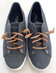 Sperry-Top-Sider-Sz-7-Women-039-s-Boat-Shoes-Faded-Denim-Curly-Laces-Tan