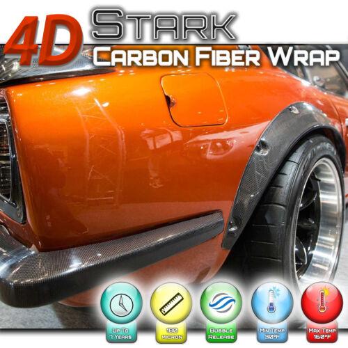 """4D Black Carbon Fiber Vinyl Wrap Bubble Free Air Release E 48/"""" x 60/"""" Inch"""