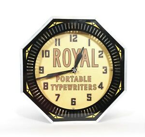 Royal Typewriter Neon Spinner Clock * Outstanding Condition * Works * See Video