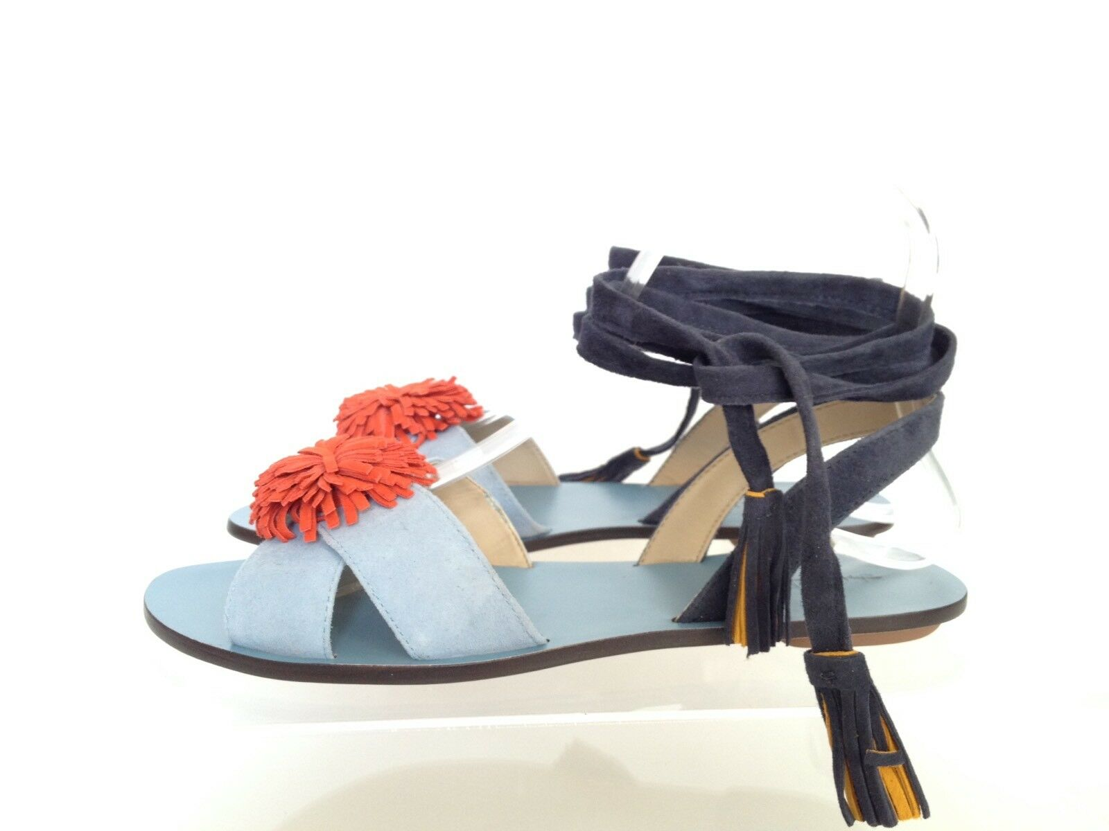 J.CREW Lace-up Suede Sandals with Pom Blue Pom Sz 7 Light Blue Pom Orange g0959  128 727403