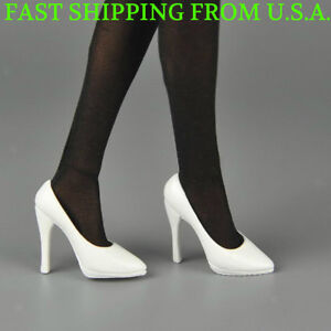 1//6 Female High Heeled White Shoes For Phicen Hot Toys Figures SHIP FROM USA