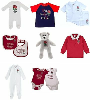 England Rugby Baby Kit Shirt and Shorts Baby Grow Sleepsuit Vests Bibs Cap ERFU