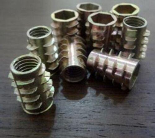 10X  M10 Thread L=15mm-20mm Wood Insert Nut MDF Chip Board Knurled Threaded 10mm