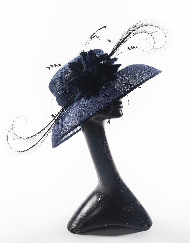 Ladies navy blue statement hat. Ascot races wedding