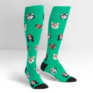 Womens-Knee-High-Socks-Dogs-Of-Rock-Sock-Colourful-Funny-Cute-Long-Bright