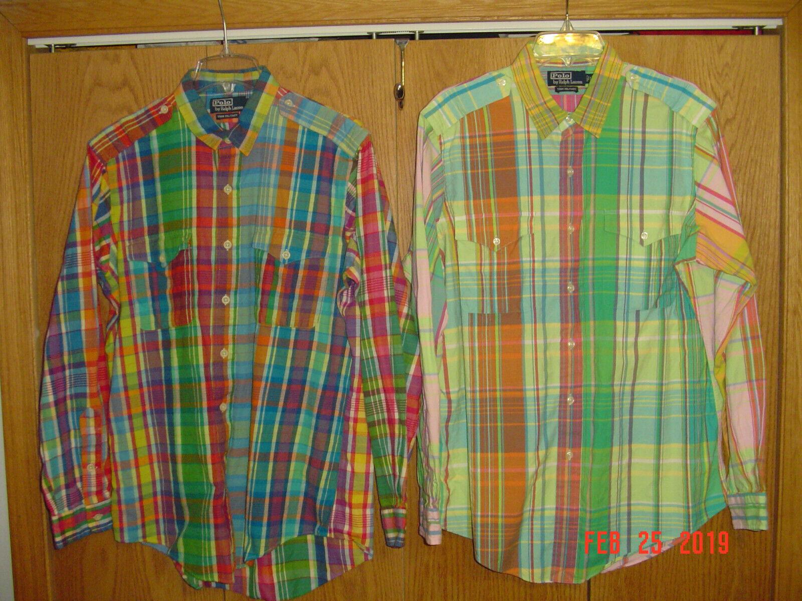 d3c48b5562fe1 Lot 2 Men s POLO RALPH LAUREN TRIM MILITARY Plaid Long Sleeve Shirts Large  P110