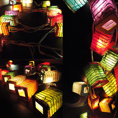20 Squred Design Multi Color Thai Paper Lantern Fairy String Lights Patio Party