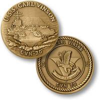 Uss Carl Vinson Challenge Coin Cvn-70 Nuclear Aircraft Carrier Us Navy Bronze