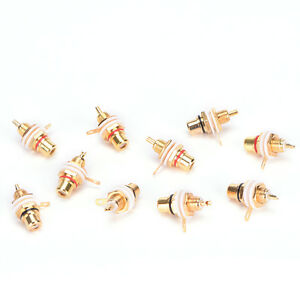 10PCS-RCA-Female-Chassis-Panel-Mount-Jack-Socket-Connector-24K-Gold-Plated-TC