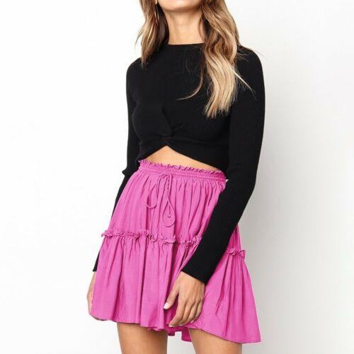 Women Casual Beach Mini Skirt A-line Elastic Waist File Ruffle Short Swing Skirt