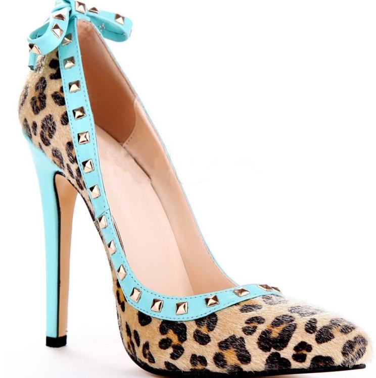 femmes Sexy Leopard Pump Rivet Stilettos Pointy Toe European High Heel chaussures