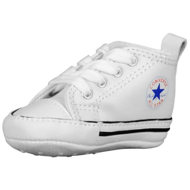 a3c217ee2c19 CONVERSE NEWBORN CRIB WHITE LEATHER 81229 FIRST ALL STAR BABY SHOES SZ 1-4