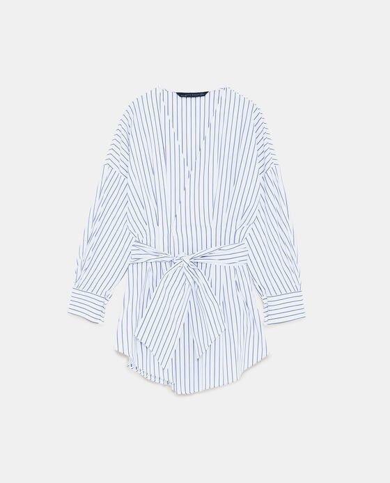 Zara damen Striped Blouse With Bow Größe M NWT