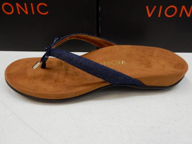 b322184371ce Vionic Bella II Denim Blue Brown Bow Flip-flop Comfort Sandal Shoe 7 ...