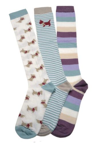 3 Pair pack of Scottie Dogs Ladies Long Socks  Boot socks
