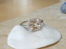 STUNNING!!  ESTATE 14K 8MM NATURAL PINK CUSHION MORGANITE AND  DIAMOND HALO RING