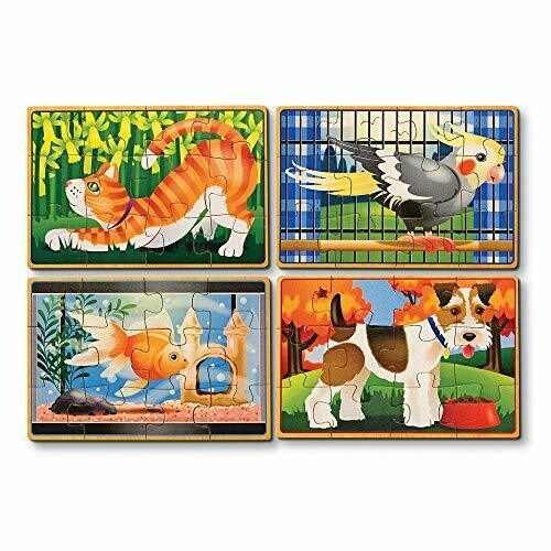 Melissa  Doug Pets 4-in-1 Wooden Jigsaw Puzzles in a Storage Box