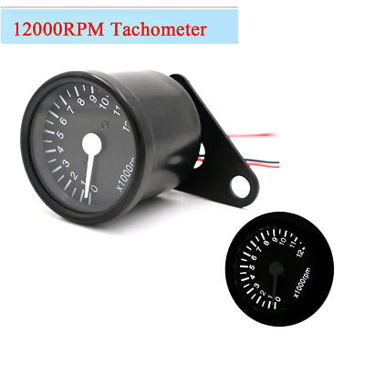 [DIAGRAM_5UK]  Black Tachometer Speedometer Gauge Meter 0-12,000 RPM for 12V Motorcycle  Scooter | eBay | 12 Ebay Tachometer Wiring Diagram Explained Mini Bike Scooter |  | eBay
