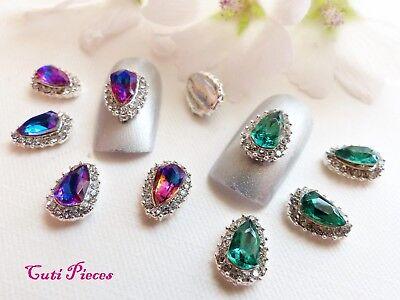 3d nail art tear droplet purple emerald silver rhinestone